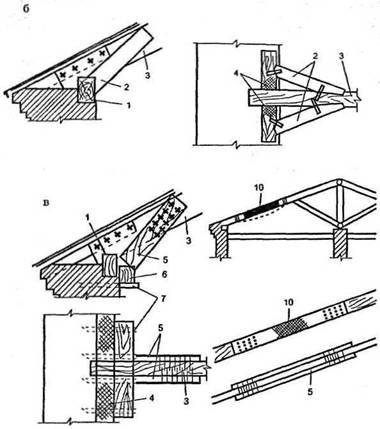 б - укрепление стропильной ноги вблизи стропила на загнившую часть мауэрлата: 1 - мауэрлат; 2 - подкосы: 3...