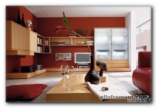 Інтер'єр вітальні в червоному кольорі