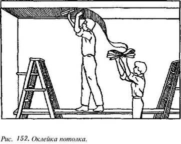 Обклеювання шпалерами стелі