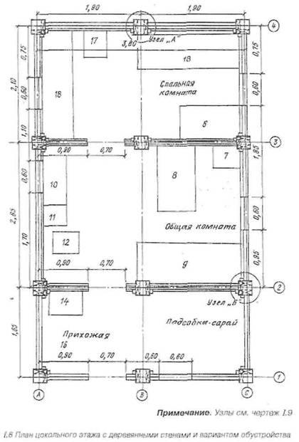 План цокольного поверху з дерев'яними стінами і варіантом облаштування