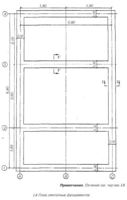 План стрічкових фундаментів