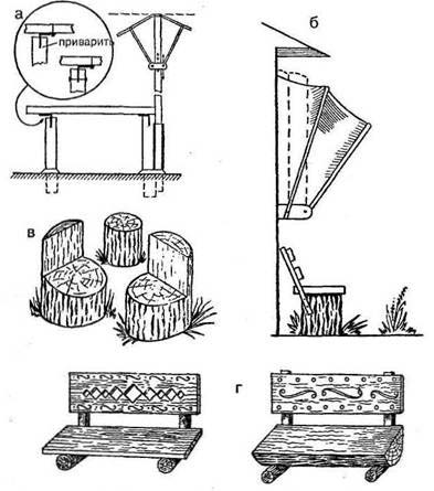 Скамейка своими руками из бревен чертежи